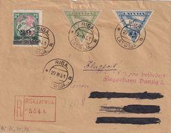 LETTONIE 1921 PLI AERIE NRECOMMANDE DE RIGA AVEC CACHET ARRIVEE DANZIG - Lettonie