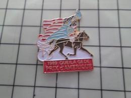 1320 Pin's Pins / Beau Et Rare / THEME : ANIMAUX / CHEVAL EQUITATION STATUE DE LA LIBERTE 1989 PRIX D'AMERIQUE QUEILA GE - Animales