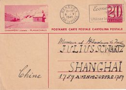 SUISSE  1941   ENTIER POSTAL/GANZSACHE/POSTAL STATIONARY CARTE ILLUSTREE DE GENEVE POUR SHANGHAI - Unclassified