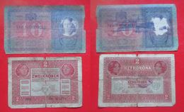 X1-Lot 2 Pieces-10 Korona,Kronen 1904.+2 Korona,Koronen 1917.Austria,Hungary-Austro-Hungarian Empire-Circulated Banknote - Austria