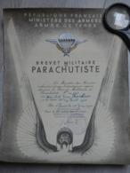 DIPLOME BREVET MILITAIRE PARACHUTISTE HOURLIER. N°14287 (1947). Gal DEMETZ Cdt 25éme DAP. 31,5cmX24cm. - Militari