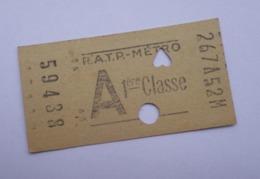BILLET RATP METRO A 1ère Classe 267A52M N° 59438 - COMPOSTE - Chemins De Fer