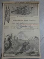 DIPLOME CERTIFICAT DE BONNE CONDUITE HOURLIER BALHAM ARDENNES.1948. 10é BAT CHASSEURS PARA A PIED. - Militari