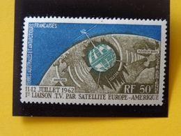 T.A.A.F. N°6 Neuf* Télécommunications Spatiales 1e Liaison T.V. Par Satellite Poste Aérienne Charnière  Cote 30€ - Airmail