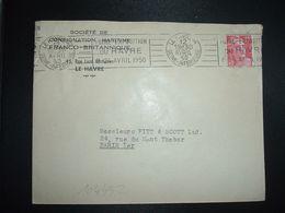 LETTRE TP M. DE GANDON 15F OBL.MEC.12 AVRIL 1950 LE HAVRE PAL (76) FOIRE EXPOSITION DU HAVRE 8-24 AVRIL 1950 - Marcophilie (Lettres)