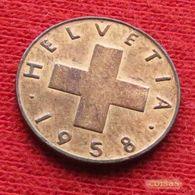 Switzerland 1 Rappen 1958 KM# 46 Suiça Suisse Svizzera Schweiz Suiza - Suisse