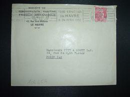 LETTRE TP M. DE GANDON 15F OBL.MEC.30 MARS 1950 LE HAVRE PAL (76) FOIRE EXPOSITION DU HAVRE 8-24 AVRIL 1950 - Marcophilie (Lettres)