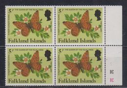 Falkland Islands 1984 Definitives / Insects 5P Bl Of 4 (Fritillary) ** Mnh (48713) - Falkland Islands