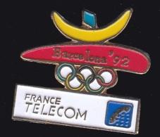 65950- Pin's- France-telecom.Orange.Telephone.Jeux Olympiques De Barcelone. - France Telecom