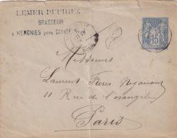 DDX 451 - FRANCE BRASSERIE - Entier Sage VIEUX CONDE (Nord) 1884 - Cachet Lemer Dupriez , Brasseur à HERGNIS Près CONDE - Bier
