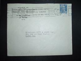 LETTRE TP M. DE GANDON 15F OBL.MEC.27-1 1953 LE HAVRE PRINCIPAL (76) IVeme FOIRE EXPON DU HAVRE 8 AU 25 MAI 1953 - Marcophilie (Lettres)