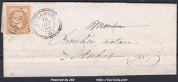 FRANCE EMPIRE N° 28A SUR LETTRE POUR AUBIET GC 3049 PUYCASQUIER GERS + CAD PERLÉ DU 16/10/1868 - 1863-1870 Napoleon III With Laurels