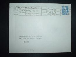 LETTRE TP M. DE GANDON 15F OBL.MEC.29-5 1952 LE HAVRE PRINCIPAL (76) FOIRE EXPOSITION DU HAVRE 17 MAI 2 JUIN 1952 - Marcophilie (Lettres)