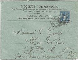 LETTRE 1888 AVEC TIMBRE AU TYPE SAGE PERFORE S G - SOCIETE GENERALE LYON - - France