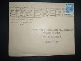 DEVANT TP M. DE GANDON 15F OBL.MEC.21-12 1951 LE HAVRE PRINCIPAL (76) FOIRE EXPOSITION DU HAVRE 17 MAI 2 JUIN 1952 - Marcophilie (Lettres)
