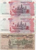 Cambodge Cambodia : Lot De 3 Billets : 500 Riels 2004 X 2 + 1000 Riels 1999 - Cambogia