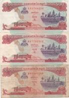 Cambodge Cambodia : Lot De 3 Billets : 500 Riels (Mauvais État) - Cambogia