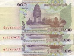 Cambodge Cambodia : 100 Riels 2001 BE Prix Par Billet - Cambogia