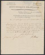 """Précurseur - LAC """"République Française, Datée De Poperingue 4 Prairial An IV"""", Obl Linéaire 91 / Ypres, Port 3 > Bruges - 1794-1814 (Franse Tijd)"""