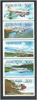 Faroe Islands 1985 Planes Mi 125-129 Strip Of Five MNH(**) - Faroe Islands