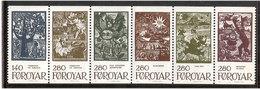 Faroe Islands 1984 Fairytales, Mi 106-111 Strip Of 6 MNH(**) - Faroe Islands