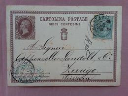 REGNO - Cartolina Postale Spedita All'estero Con Francobollo Aggiunto + Spese Postali - 1861-78 Vittorio Emanuele II