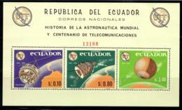 Équateur 1966 Mi. Bl. 16 Bloc Feuillet 100% Neuf ** UIT, Espace - Ecuador