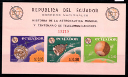 Équateur 1966 Mi. Bl. 17 Bloc Feuillet 100% Non Dentelé Neuf ** UIT, Espace - Ecuador