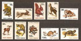 ROMANIA 1993 MARTEN RABBIT SQUIRREL GOAT ANTELOPE FOX SHEEP GENET DORMOUSE STOAT MONGOOSE - Roedores
