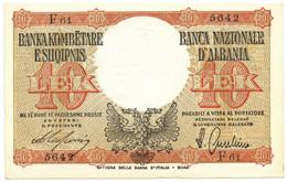 10 LEK REGNO D'ITALIA E ALBANIA BANCA NAZIONALE D'ALBANIA LUGLIO 1940 SUP- - [ 6] Kolonies