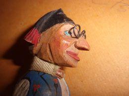 Ancien Bouchon Tete  Normand Bois Sculpté  Polychrome Peint Calvados - Art Populaire