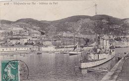 06. VILLEFRANCHE SUR MER. CPA. RARETE.  INTERIEUR DU PORT. BATEAU MILITAIRE.  ANNEE 1909+ TEXTE - Villefranche-sur-Mer