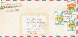 29H : British Virgin Islands Flower X 3  Stamps On Cover - British Virgin Islands