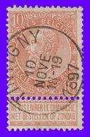 "COB N° 57 - Belle Oblitération ""TINTIGNY"" - 1893-1900 Schmaler Bart"