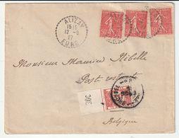 Lettre Avec Cachet Tireté Alizay/ Eure Pour La Belgique, Taxée, 1927  (à Noter D'autres Lettres Diverses à Venir) - Francia