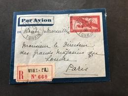 Lettre Entier Indochine Par Avion 1936 Viet Tri Tonkin Pour Paris - Indochina (1889-1945)