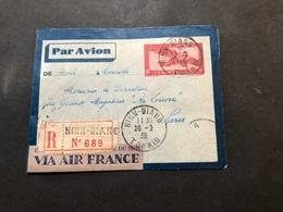 Lettre Entier Indochine Par Avion 1936 Ninh-Giang Tonkin Pour Paris - Indochina (1889-1945)