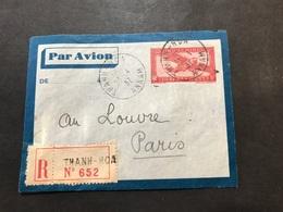 Lettre Entier Indochine Par Avion 1937 Thanh-hoa Annam Pour Paris - Indochina (1889-1945)