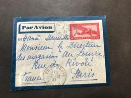 Lettre Entier Indochine Par Avion 1937 Phu-Nghia Annam Pour Paris - Indochine (1889-1945)