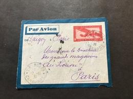 Lettre Entier Indochine Par Avion 1936 Le Bokor Cambodge Pour Paris - Indochine (1889-1945)