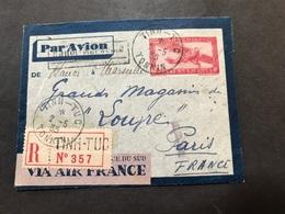 Lettre Entier Indochine Par Avion 1935 Tinh-Tuc Tonkin Pour Paris - Indochine (1889-1945)