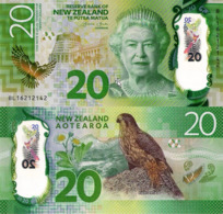 NEW ZEALAND 20 Dollars Banknote, 2016, P193, UNC, QUEEN ELIZABETH II & KAREAREA - New Zealand