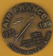 Medaille Cinquantenaire 1933/1983 AIR FRANCE Et 35 Ans Des Anciens Air Orient Air Union Aeropostale - France