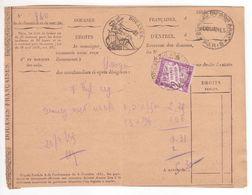 TAXE 2F Violet Banderole Duval Seul Sur Quittance Douanes Paris = Taxe De Dédouanement SUP! - 1859-1955 Storia Postale