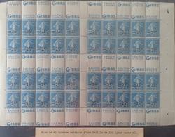 R1337/302 - 1926/27 - TYPE SEMEUSE - N°217 NEUFS** ➤➤➤ RARE +++ FEUILLE DE 40 TIMBRES POUR CARNETS - Nuevos
