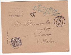 Lettre Non Affranchie PARIS Départ + Contreseing 1893 TAXE SIMPLE 15c Noir Banderole Duval Aisne TB! - Taxes