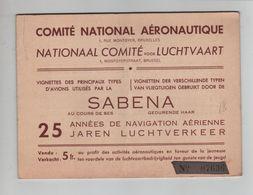 287PR/ Carnet Comité National Aéronautique Vignettes Des Types D'avions Utilisés Par La Sabena - Marcophilie