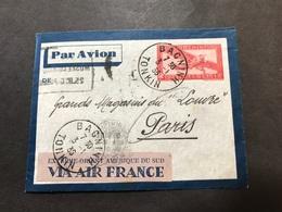 Lettre Entier Indochine Par Avion 1936 Bacninh Tonkin Pour Paris - Indochine (1889-1945)