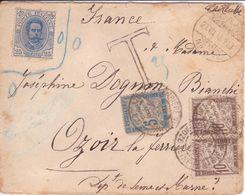 Lettre Timbre Italie Non Valable En Suisse (ambulant) TAXE En FRANCE Banderole Duval 1898 SUP! - Taxes
