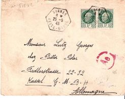 Haute Marne:- BANNES Dateur Type F4 Sur Lettre Pour L'Allemagne Avec Censure - 1921-1960: Modern Period